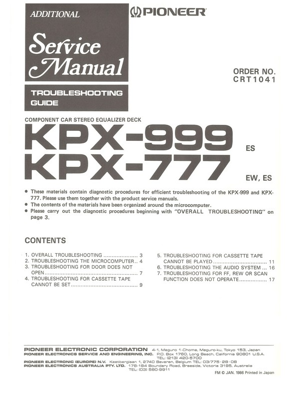 KPX-999 Pioneer Service Manual HighQualityManuals com