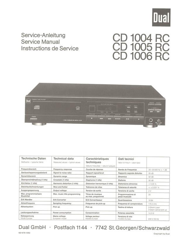 CD 1005 RC Dual Service Manual HighQualityManuals.com