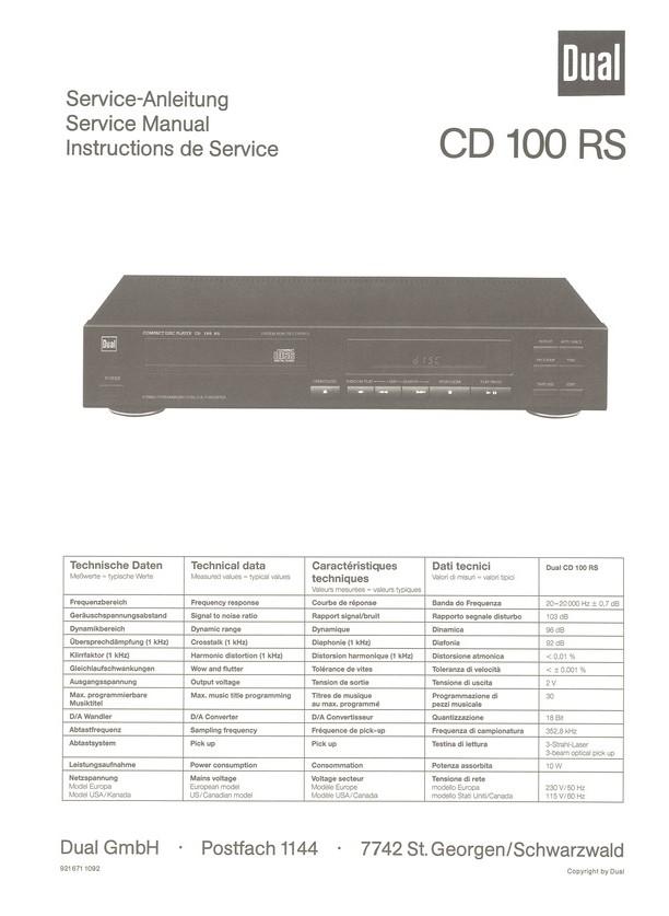 CD 100 RS Dual Service Manual HighQualityManuals.com