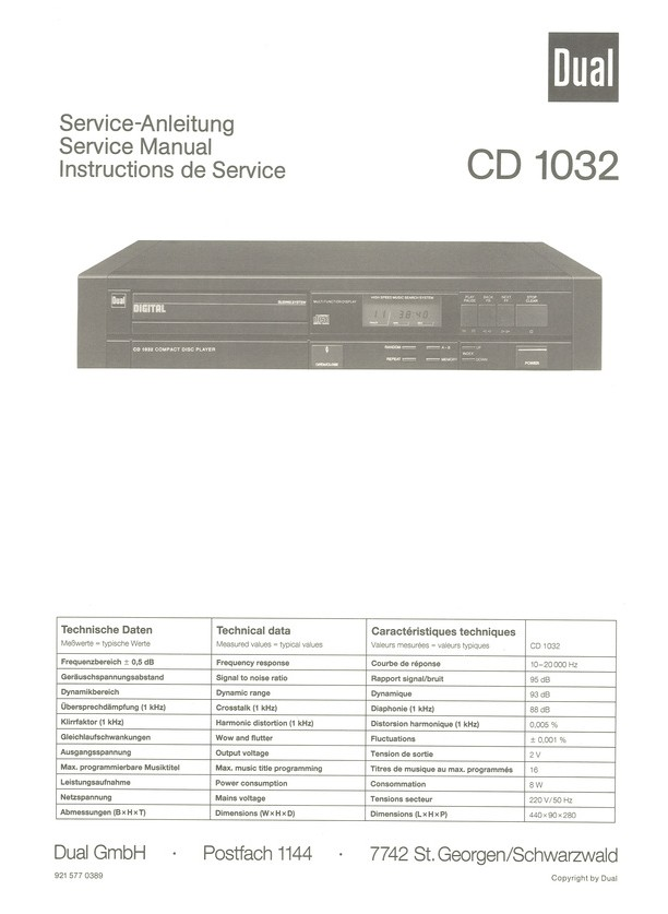 CD 1032 Dual Service Manual HighQualityManuals.com