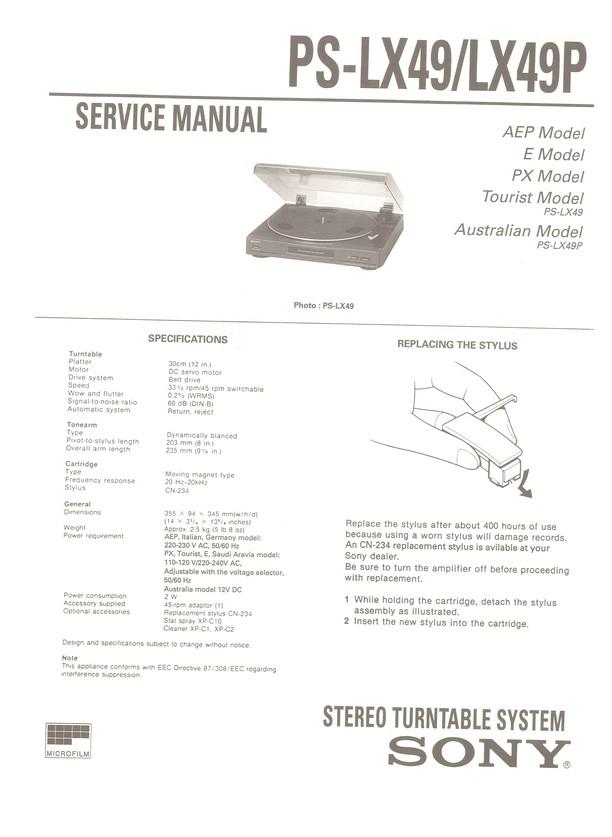 PS-LX49P Sony Service Manual HighQualityManuals com