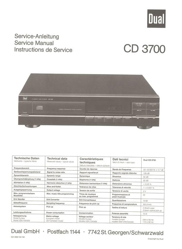 CD 3700 Dual Service Manual HighQualityManuals.com