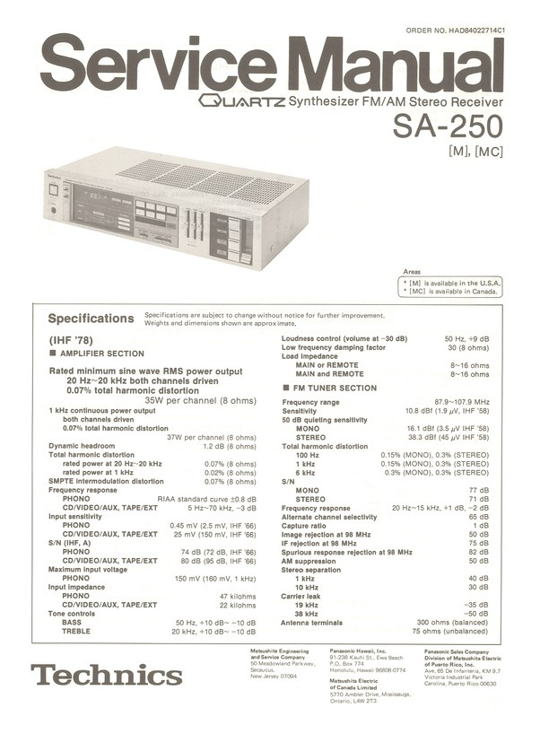 SA-250 Technics Service Manual HighQualityManuals com