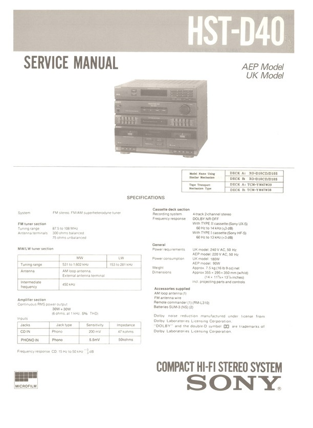 HST-D40 Sony Service Manual HighQualityManuals com