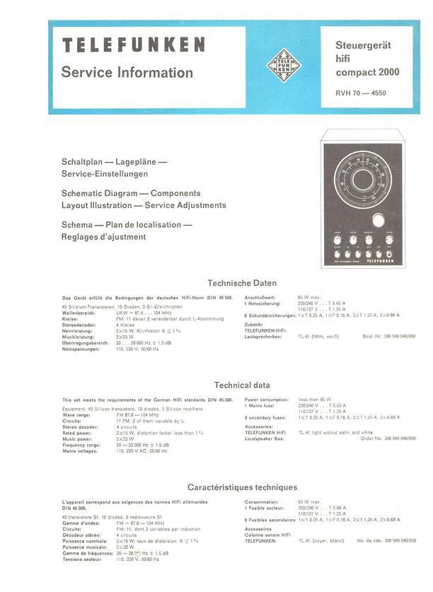 COMPACT 2000 hifi Telefunken Service Manual