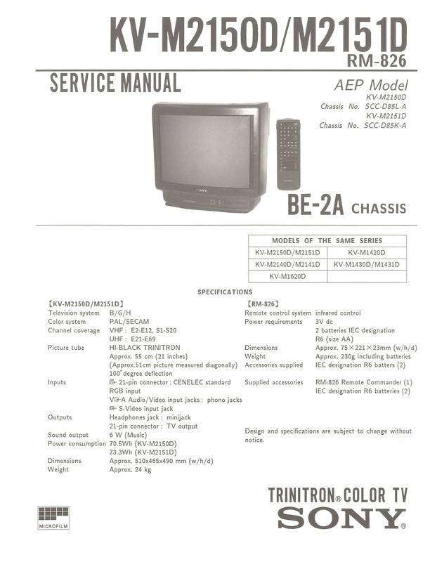 Sony kv m1420d manual